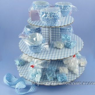 blue gingham cupcake stand for display