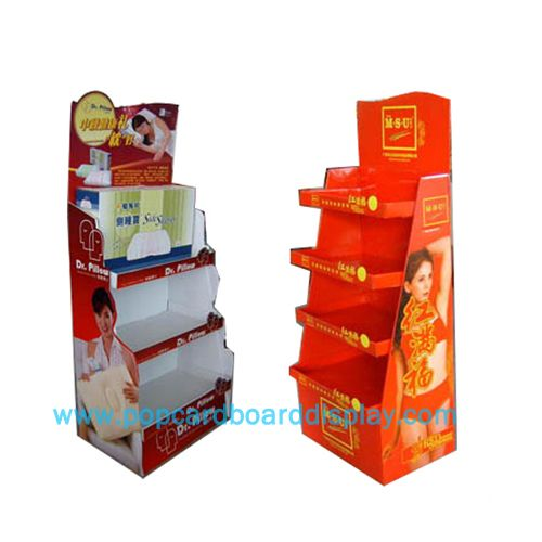 Supermarket bedding pillows promotional cardboard display stand