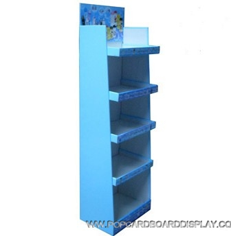cartoon style cardboard floor display rack with 5 tiers