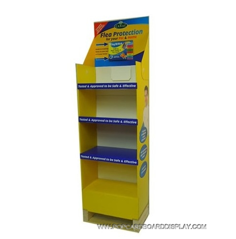 4-tiers corrugated paper upright floor display stand