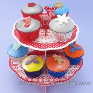 colorful christmas cross stitch cardboard cupcake stand