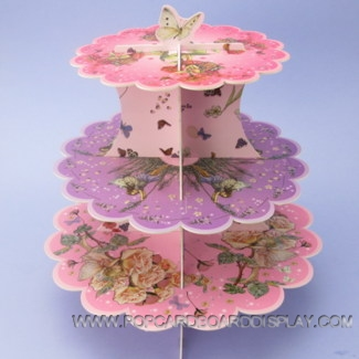 3 tiers flower fairies cardboard pretty cake stand