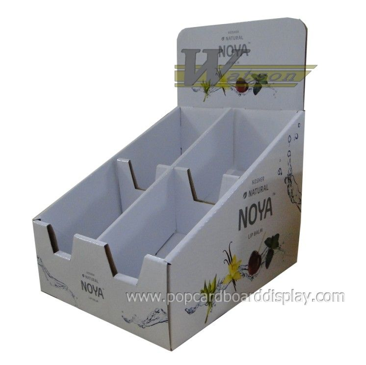 corrugated paper desk display box,lip balm displaying counter box