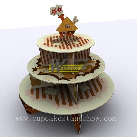 Original New Design 3 tiers Sweet Home Cardboard Cupcake Stand