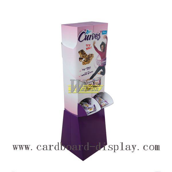 Retail corrugated floor stand for healthy snacks