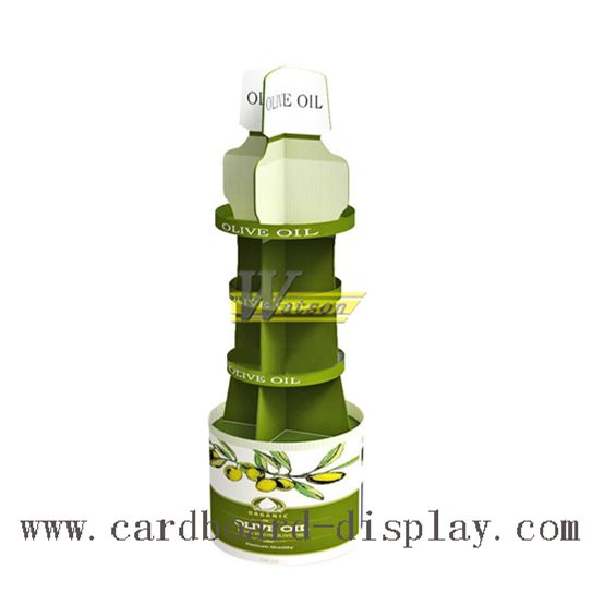 bottle shape cardboard display for olive oil