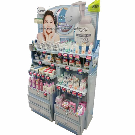 Multi-functional Tray Floor Display rack For Skin Care Promotion