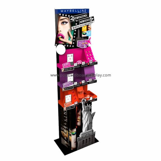 Corlorful Design High-end Cosmetics Cardboard Tray Floor Display Rack