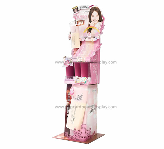 Advertising promotion supermarket skin care floor cardboard cosmetic display