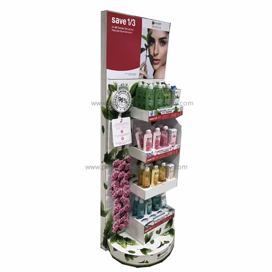Creative supermarket cardboard retail display with hook& floor 4 tray display stand